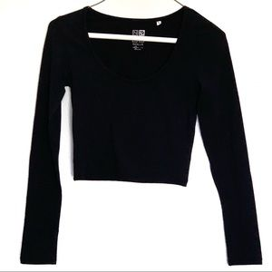 Black Long Sleeve Crop Top | S